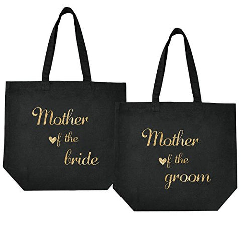 Elegantpark Mother Of The Bride + Groom Tote Wedding Gift Bridal Shower Bag 100% Cotton Black With Gold Glitter 2 Pcs
