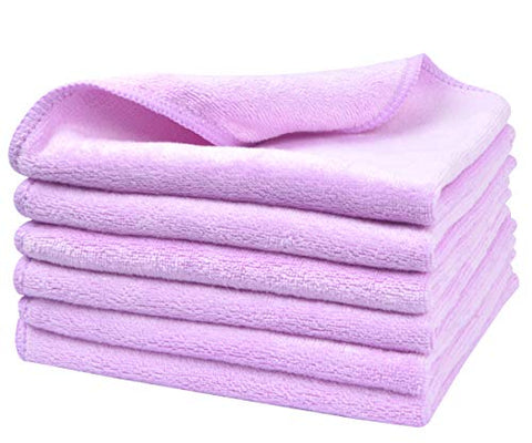 Sinland Microfiber Facial Cloths Fast Drying Washcloth 12Inch X 12Inch Light Purple