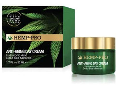 Edom Hemp-Pro. With Organic Hemp. Age-Defying Day Cream. Dead Sea Minerals, Hyaluronic Acid. 1.7 Fl Oz