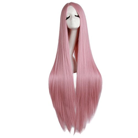Mapofbeauty 40 /100Cm Natural Soft Straight Long Cosplay Wig (Rouge Pink)