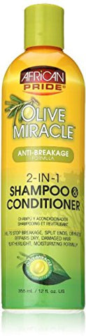 African Pride Olive Miracle 2-In-1 Shampoo &Amp; Conditioner 12 Oz