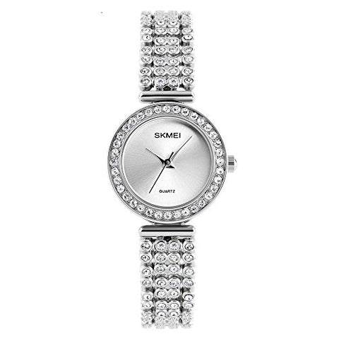 Quartz Watch Womens 30 Meters Waterproof Lady Watch On Sale Birthday Gift With Stainless Steel Diamond Band (Silver)