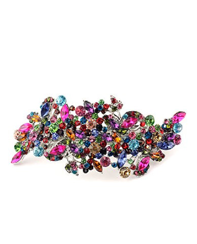 Women'S Rhinestone Metal Hair Barrette Clip Hair Pin Antique Silver Imb2122, Multi