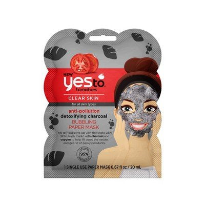 Yes To Tomatoes Charcoal Face Mask For Clear Skin, Anti Pollution Detoxifying Bubbling Paper Facial Mask For All Skin Types | Single Use / 0.67 Ounce
