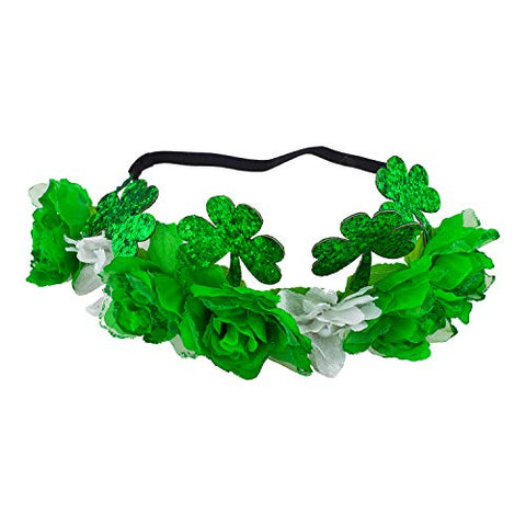 Lux Accessories Green White Saint Patrick Clover Flowers Fashion Elastic Crowns