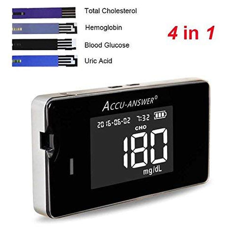 Accu-Answer Isaw Multi-Monitoring System Total Cholesterol, Blood Glucose, Uric Acid 4-In-1 Kit