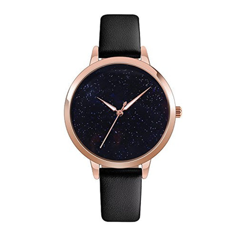 Quartz Watch Womens Waterproof Lady Watch Wrist Watch Creative Starlight Dial Birthday Gift With Genuine Leather Band