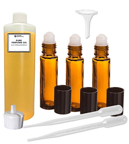 Grand Parfums Perfume Oil Set - Nude By Bill Blass Type Body Oil For Women Scented Fragrance Oil - Our Interpretation, With Roll On Bottles And Tools To Fill Them (1 Oz)