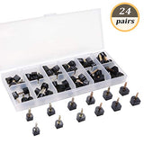 Emingo 24 Pairs High Heel Tips Shoes Replacement Tap Caps,6 Size,8,/9/10/11/12/12.5Mm,U-Shape, Black