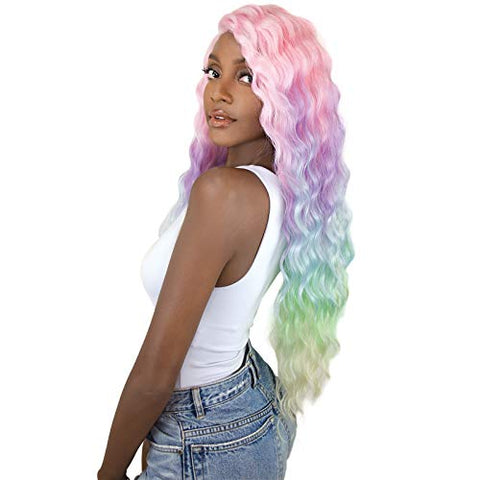 Unicorn Wig 28  Wavy Long Ombre Pastel Multi-Color Ripple Wave Rainbow Wig Mermaid Wig Cosplay Wig Party Wig (Unicorn Sun Dance)