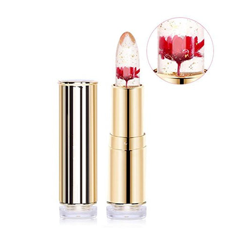 Jelly Lipstick, Htgtai Translucent Moisturizer Lipsticks Lips Care Surplus Bright Flower Lipstick - Flame Red