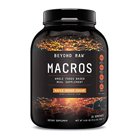 Beyond Raw Macros Meal Replacement Protein Powder | Maple Brown Sugar | 24 Servings | Contains 40G Protein, 30G Carbs, 5G Dietary Fats, And 2G Sugar Per Serving