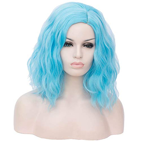 Beron 14  Women Girls Short Curly Bob Wavy Wig Body Wave Halloween Cosplay Daily Party Wigs (Light Blue)