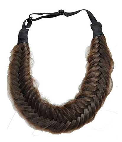 Coolcos Wedding Bohemian Women Headband Braided Hair Plaited Hair Braid Headbands Hairpiece Synthetic Dark Brown Headbands (Dark Brown Fishtail Headband)