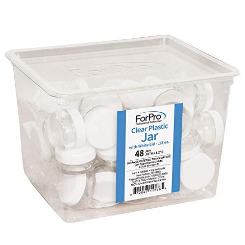 Forpro Clear Plastic Jar With White Lid, 0.13 Ounce, 48 Count