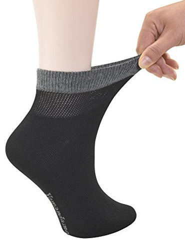 Yomandamor Women'S Bamboo Diabetic Ankle Socks With Seamless Toe And Non-Binding Top,6 Pairs Size 9-11