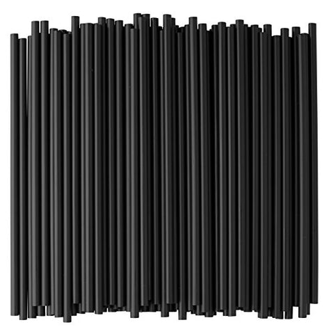 Crystalware, Black Plastic Straws, 7 3/4 Inches, Jumbo Pack 250 Straws