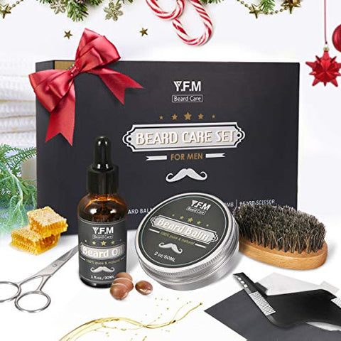 Y.F.M Beard Care Grooming &Amp; Trimming Kit For Father'S Days Gift Men Beard Care Gift Set Beard Conditioners Oil, Beard Shaping Comb, Beard Brush, Mustache Scissors, Beard Balm