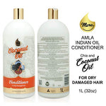 Mera Amla Indian Oil - Coconut Oil Conditioner With Chia Seed Extract - Great For Damaged, Dry, Curly Or Frizzy Hair - Safe For Color And Keratin Treated Locks, 32Oz / 1L