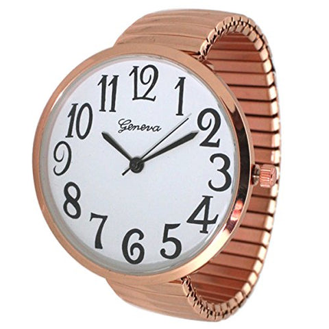 Fashion Watch Wholesale Geneva Super Large Stretch Watch Clear Number Easy Read (Rose Gold)