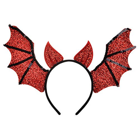 Lux Accessories Red Black Bat Wings Evil Horn Halloween Fashion Headband