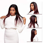 Ombre Peruvian Hair Bundles With Closure 1B/99J Straight Bundles With Lace Closure 9A Burgundy Human Remy Hair Weave 3 Bundles With Middle Free Three Part Closure (18 20 22+16 Inch, T1B/99J)