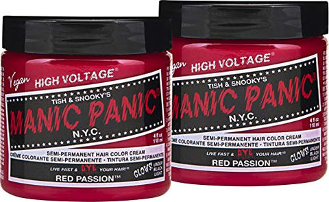 Manic Panic Red Passion Color Cream  Classic High Voltage - Semi-Permanent Hair Dye - Vivid, Red Shade - For Dark, Light Hair  Vegan, Ppd &Amp; Ammonia-Free - Ready-To-Use, No-Mix Coloring