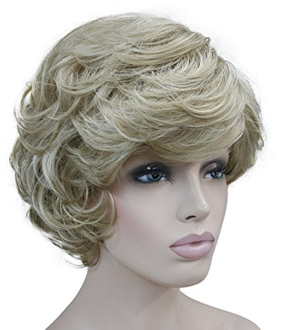 Lydell Women'S Short Curly Wavy Wig Synthetic Hair Full Wig 6 Inches (#L16-613 Blonde With Highlights)