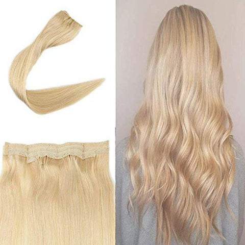Full Shine Halo Extensions Products Invisible Wire 18  Remy Hair No Clips Flip On #613 Blonde Color 100% Real Human Hair Secret Fish Line Hairpieces For Women Double Weft 11 Inch Width 80G Per Set