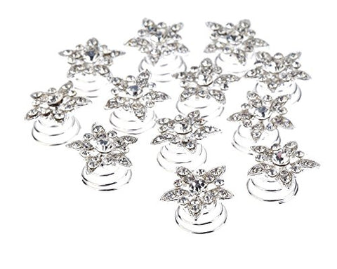 Splendid Set Kit Of Weddings / Proms / Balls Hair Decorations With 12Pcs Silver Colored Spirals / Twists / Twisted Pins / Clips / Curlies In Flowers Shapes Studded With Clear Rhinestones / Crystals / Gemstones By Vaga