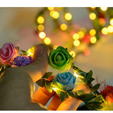 Homeleo Led Rose Flower Wreath Headband Light Up, Led Glowing Girl'S Headdress, Led Fairy Led Wrap Crown Festival Tiara Floral Bohemia For Festival Wedding Christmas New Year Halloween Party