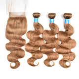 Women'S Day Gifts For Mom Brazilian Human Virgin Hair Honey Blonde Color Body Wave Hair Extension 3 Bundles With Lace Closure 27# Human Hair(14 16 18+12Closure)