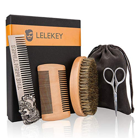 Lelekey Beard Brush And Comb Set,4-In-1 Beard Grooming Kit,Natural Boar Bristle Brush+Dual Action Wood Comb+Stainless Steel Comb+Mini Scissors W/Travel Pouch,Great For Grooming Beards And Mustache