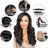 Mink Hair Closure With Loose Wave 3 Bundles 8A Grade Peruvian Virgin Human Hair Weave Extensions With Free Part 4X4 Closure Natural Color (12  14  16  With 10  4X4 Closure, Natural Black)