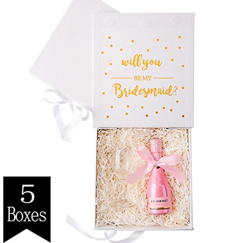 Crisky White Bridesmaid Proposal Box With Gold Foiled Text | Set Of 5 Empty Boxes | Perfect For Will You Be My Bridesmaid Gift And Wedding Present