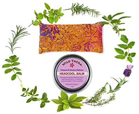 Wild Thera Headache Migraine Relief Set. Herbal Balm And Premium Herbal Eye Pillow/Eye Mask For Sinus, Stress, Sleep, Tension, Nausea, Pms, Anxiety &Amp; Insomnia. Hot Cold Therapy. Microwave Safe Pillow.