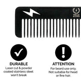 Zeus Stainless Steel Comb Thunderbolt - Hair/Beard Comb For Men! (Comb (Black))
