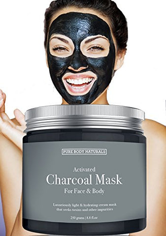 New Activated Charcoal Face Mask, Charcoal Mask For Blackheads, Acne, Oily Skin, Hydrating &Amp; Exfoliating, By Pure Body Naturals, 8.8 Fl. Ounce