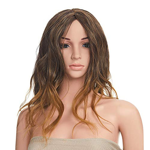 Onedor 28 Inches Curly Honey Dark Blonde Synthetic Hair Wig With Wig Cap