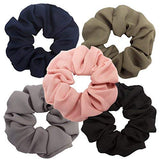 Amariver Chiffon Hair Scrunchies Solid Color Chiffon Flower Hair Scrunchy Soft Hair Bobbles Scrunchy Hair Ties Ponytail Holder Hair Loop For Lady And Women