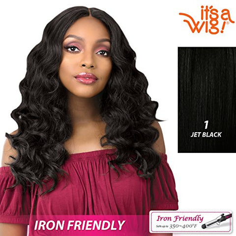 It'S A Wig! - Anywhere Lace Part With Natural Finger Wave In Heat Resistant Synthetic Wig - Laila (1 - Jet Black)