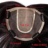 Silk Base Human Hair Crown Topper Clip Toupee Wiglet Hairpieces For Women 1515Cm Mono Net Lace &Amp;Pu Round 150% Density Indian Straight Hair Clips In Top Cover (6 ,Natural Black #1B)