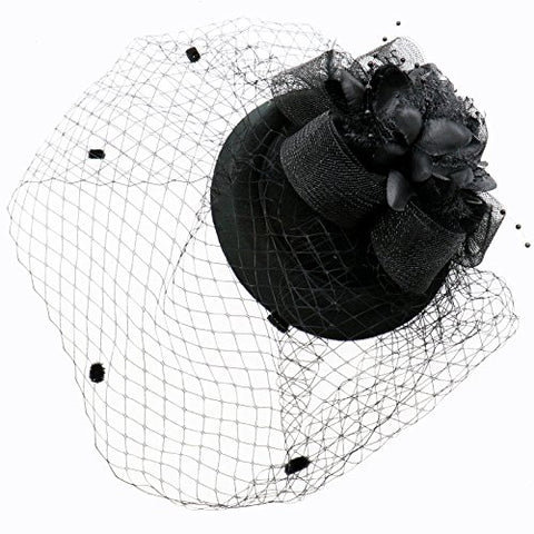 Jeteho Black Fascinator Hair Clip Pillbox Hat Bowler Feather Flower Veil Wedding Party Hat Tea Hat