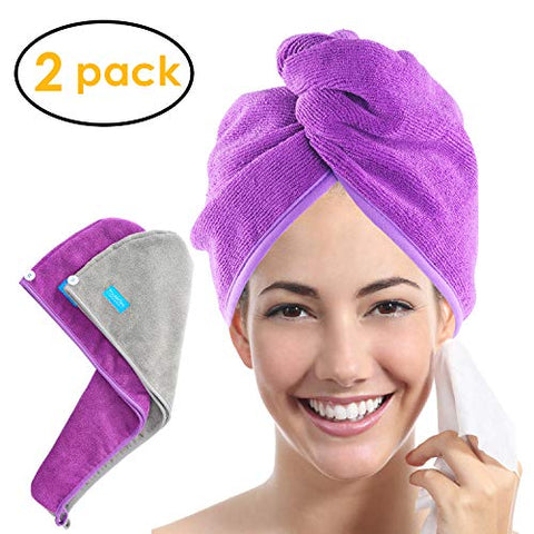 Ultra Plush Microfiber Hair Towel Wrap For Women, 10 Inch X 26Inch Purple, Ultra Absorbent Twist Hair Turban Drying Cap Hair Wrap, For Drying Curly, Long &Amp; Thick Hair (Purple+Gray)