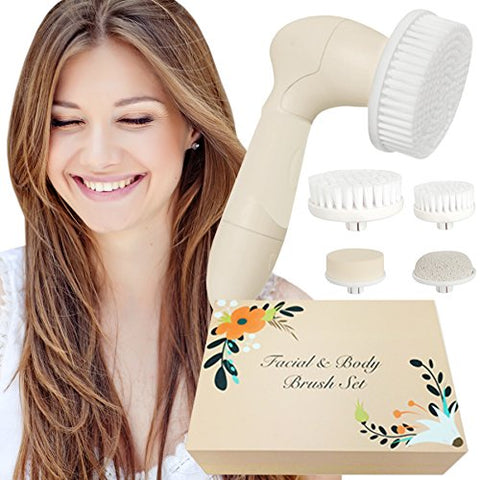 Skin Cleansing System Facial Brush &Amp; Body Care Kit - Vintage Almond Facial Brush