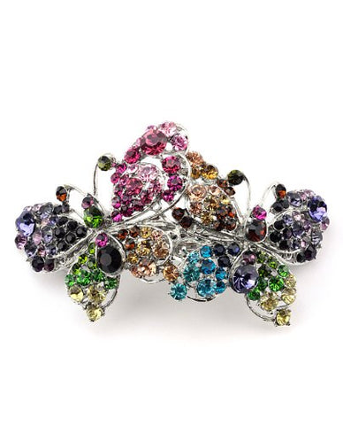 Women'S Rhinestone Dual Butterfly Barrette Clip Hair Pin Antique Silver Imb2127, Multi