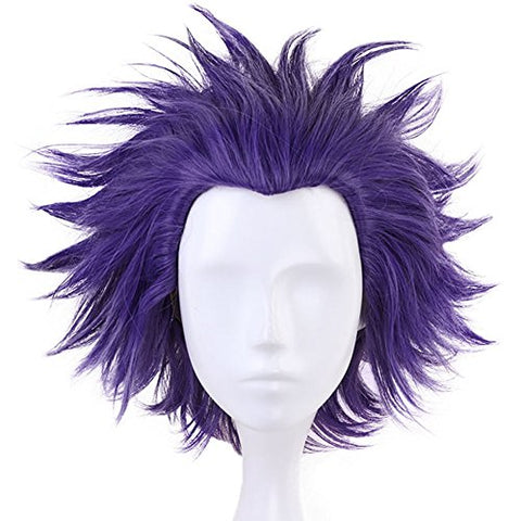 Anogol Hair Cap+Short Wavy Purple Cosplay Wig Synthetic Hair Costume Anime Wigs Fancy Dress