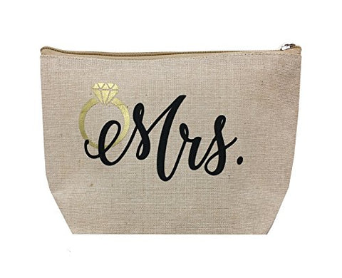 Mrs. Natural Jute Cosmetic Bag With Metallic Gold Ring