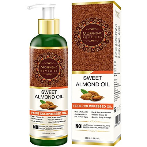 Morpheme Remedies Pure Coldpressed Sweet Almond Oil For Hair &Amp; Skin (No Mineral Oil &Amp; Sulphate), 200Ml