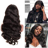 Brazilian Body Wave 360 Lace Frontal Wigs Pre Plucked With Baby Hair 150% Density Lace Front Human Hair Wigs Virgin Remy Hair For Black Women Natural Color (16 Inches)